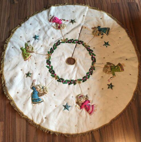 "Bucilla Holiday Angels Vtge 1969 Home Made Felt Christmas Tree Skirt 41"""