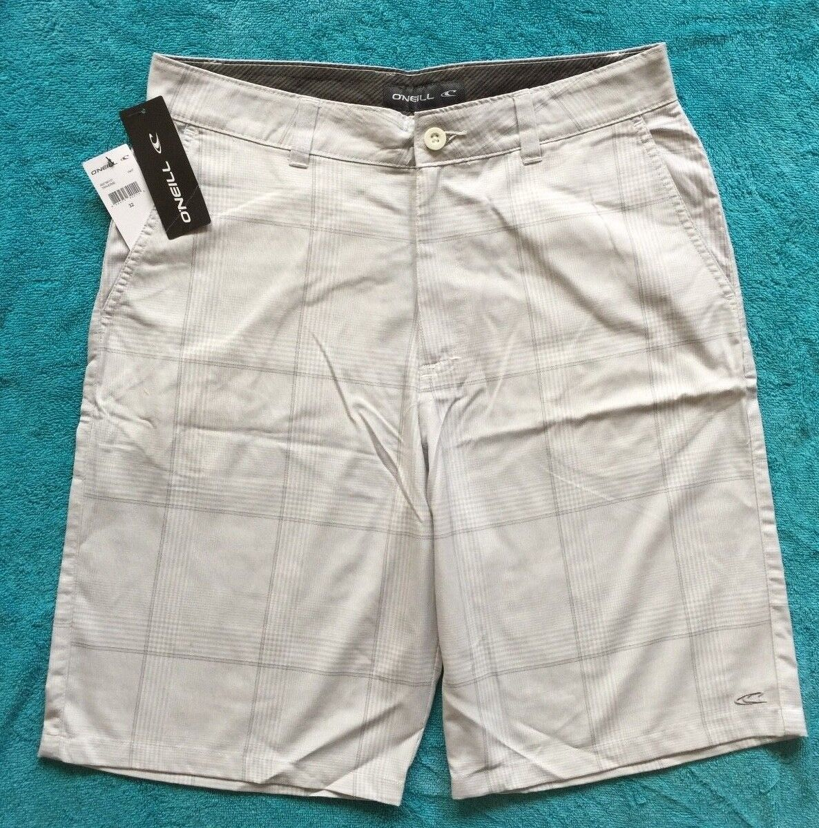 NEW Mens Size 36 O'Neill Flat Front Board Shorts White & Gra