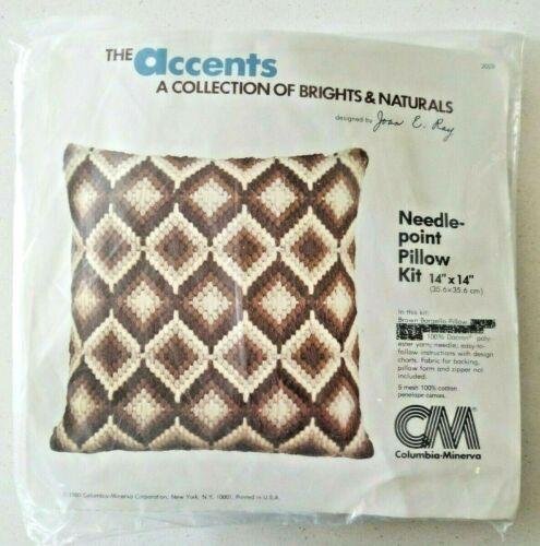 Vintage Columbia Minerva Brown Bargello Pillow Needlepoint Kit Joan Ray Rare