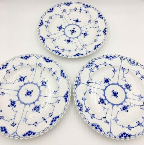 "Set 3 Royal Copenhagen Blue Fluted Full Lace 10"" Dinner Plates 1084 *1st Quality"