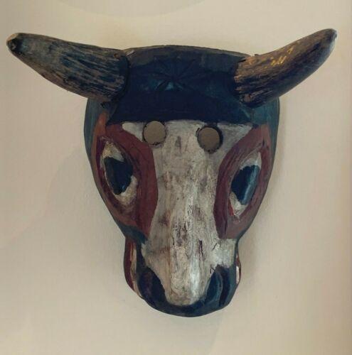 Vintage Folk Art Hand Carved Solid Wood Horse Face Horned Mask