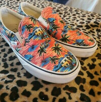 Vans Classic Slip-On Multi Tropic Palms orange Size 9 shoes rare!!