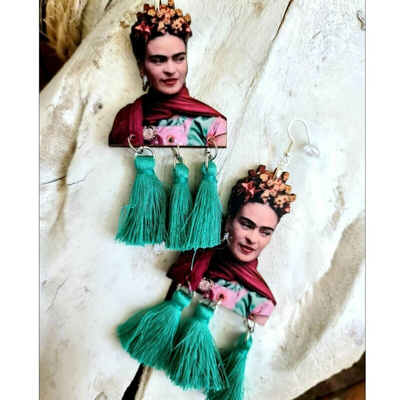 FRIDA KAHLO Earrings New Mexican Folk Art Jewelry