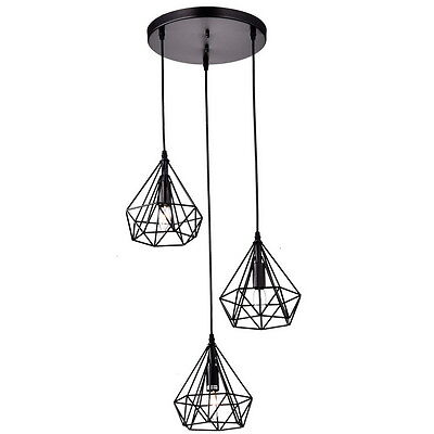 Antique Metal Polygon Chandelier 3-Lights Hanging Pyramid Lamp Pendant Lighing