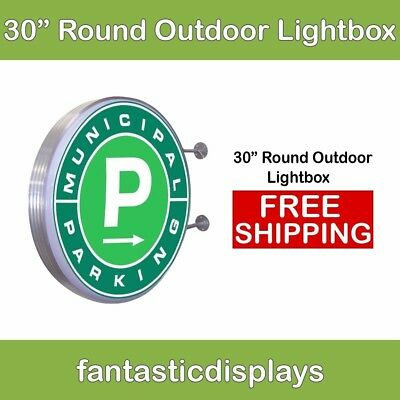 30 Round Outdoor Light Box - Led Sign Holder For Retail Advertising