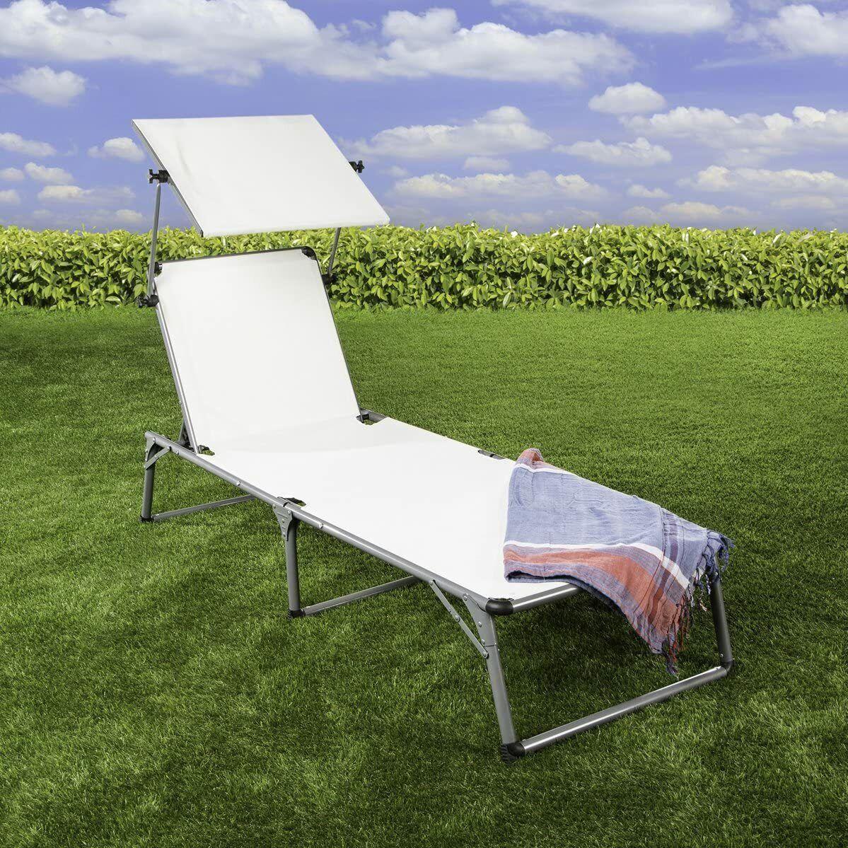 Sonnenliege Aluminium Verstellbare Rückenlehne Dach weiß Gartenliege Sommer
