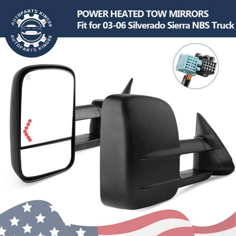 Power Heated Signals Tow Mirrors for 03-06 Chevy Silverado GMC Sierra 07 Classic