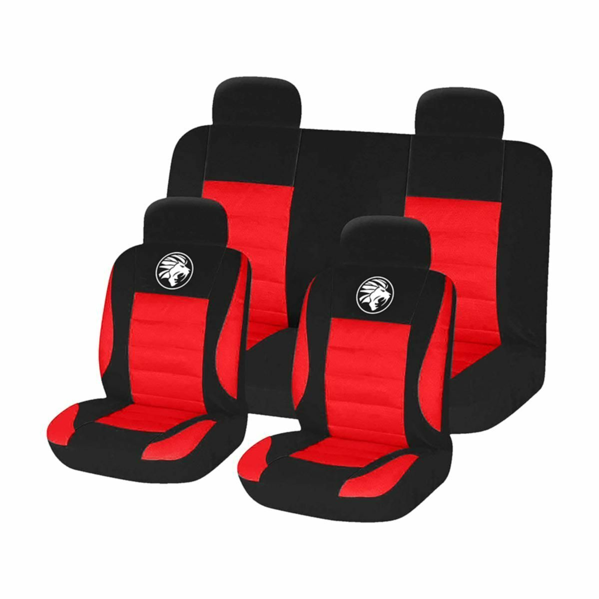 CAR SEAT COVER SET BLACK RED 8 PIECES UNIVERSAL FIT