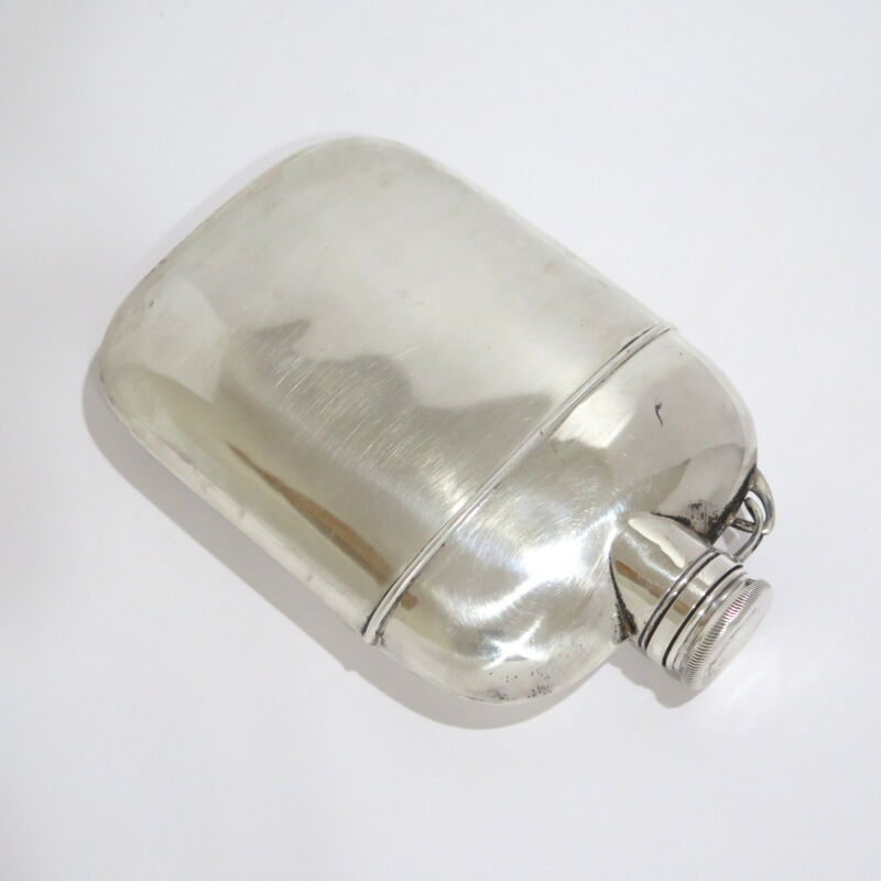 6.25 in - Sterling Silver Antique American Flask