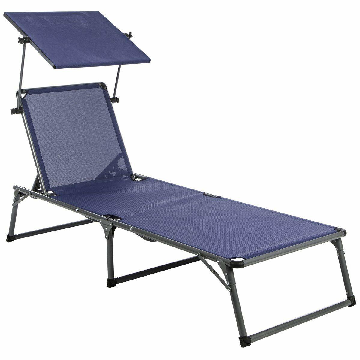 Ultranatur Aluminium Sonnenliege Nizza mit Dach blau Gartenliege Neu BWare
