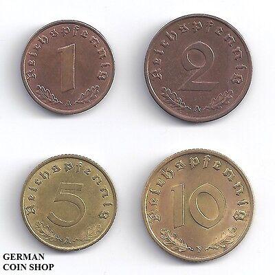 Set 1, 2, 5 und 10 Reichspfennig 1936 - 1940 - Drittes Reich Deutsches Reich