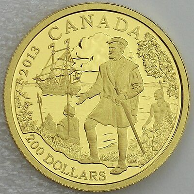 Canada 2013  200 Jacques Cartier  9999 Pure Gold 1 2 Oz Proof Great Explorers  2