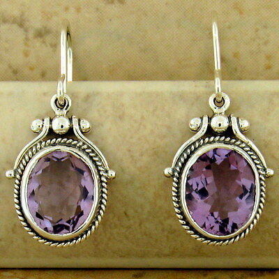 5.5 CTTW GENUINE AMETHYST 925 SILVER ANTIQUE STYLE VICTORIAN EARRINGS,      #982