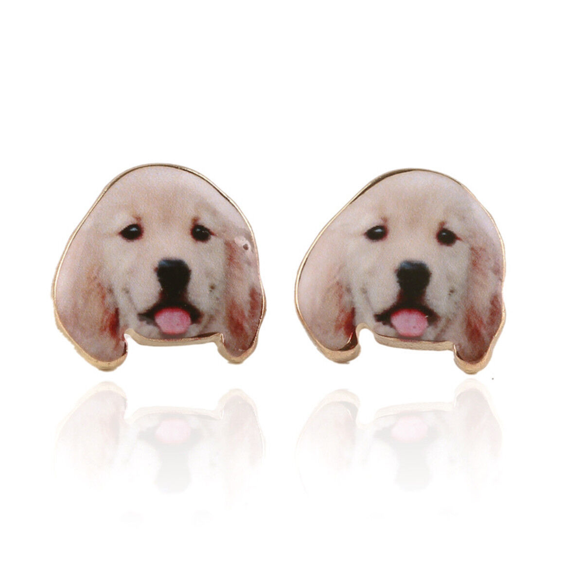 d8b7f3a63 Details about Resin Beagle Golden Retriever Dog Puppy Earrings Studs Animal  Lover Birthday