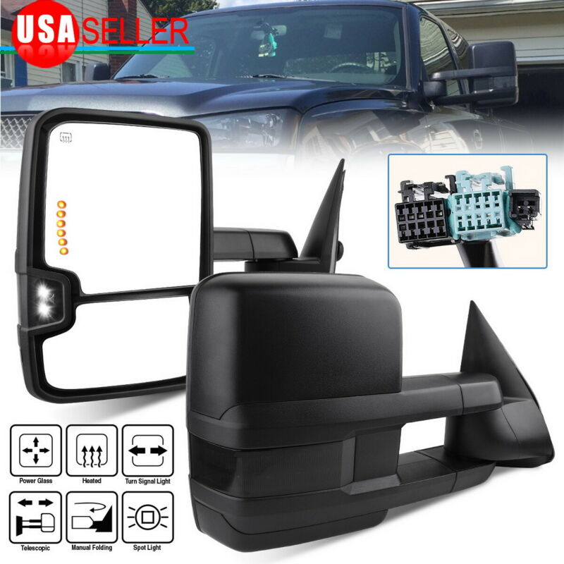 Tow Mirrors for 03-07 Chevy Silverado Sierra Power Heated Smoke Signal Backup