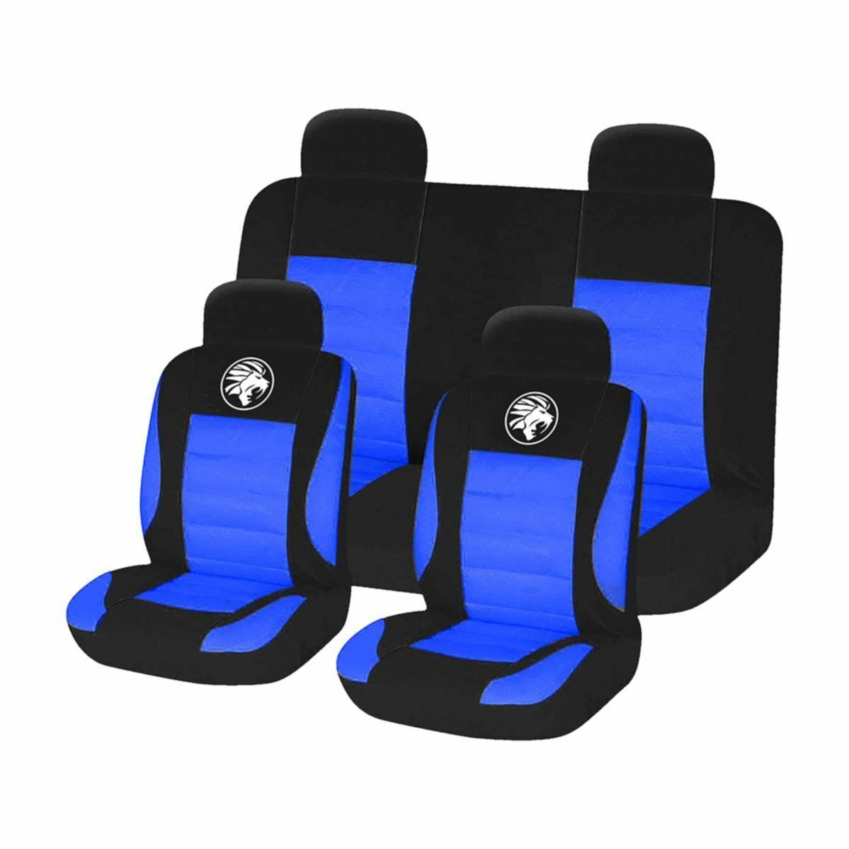 CAR SEAT COVER SET BLACK BLUE 8 PIECES UNIVERSAL FIT
