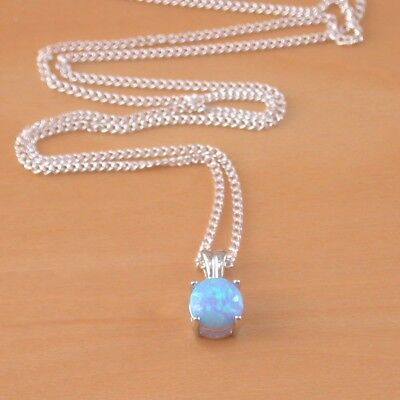 Sterling Silver Blue Opal Solitaire Pendant & chain/Silver Blue Opal Necklace UK