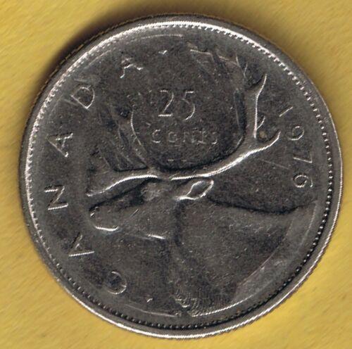 1976 Canadian  Elizabeth II Twenty Five Cent Quarter Coin Circulated