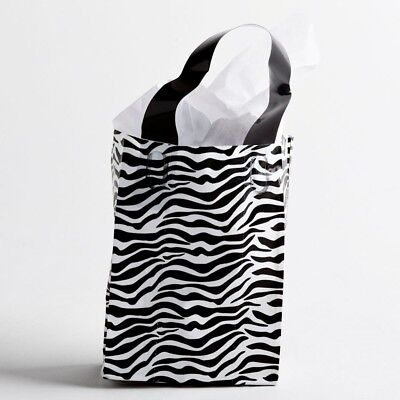 Zebra Leopard Frosted Plastic Bags Gift Party Merchandise Retail 5x3x7 Lot 40