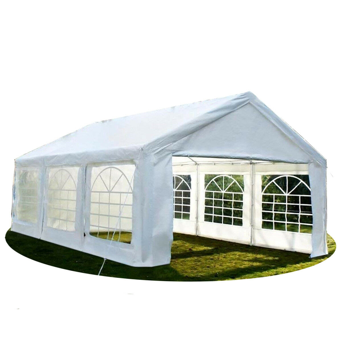 20'x20' Heavy Duty Party Tent Carport Canopy White W/ Sides