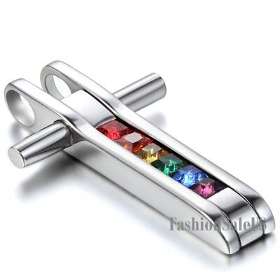 New Stainless Steel Cross Gay Lesbian Rainbow Pride Rhinestone Pendant Necklace - Gay Pride Necklace