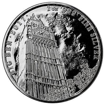 2017 Great Britain 1 Oz  Silver Landmark Of Britain Big Ben  2 Mint Cap Sku47505