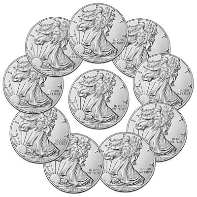 Lot of 10 Coins - 2018 American Silver Eagle $1 GEM BU Coin SKU51558