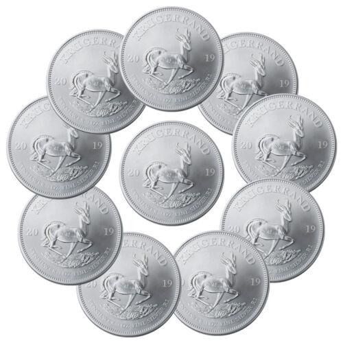 Lot of 10 2019 South Africa 1 oz Silver Krugerrand R1 Coins GEM BU SKU56937