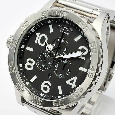 New NIXON Watch 51-30 CHRONO Silver & Black A083-000 A083000