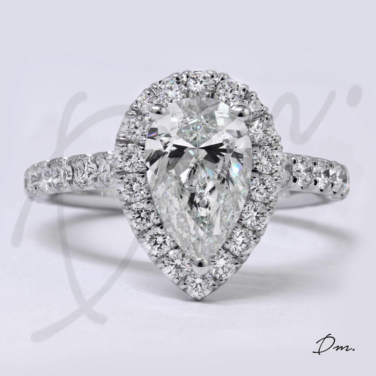 1.60 TCW Natural Pear Cut Halo U-Pave Diamond Diamond Engagement Ring - GIA 2