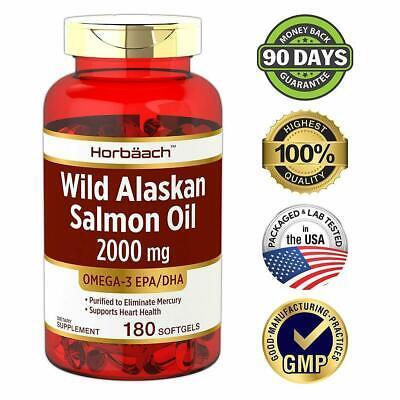 WILD ALASKAN SALMON FISH OIL 2000 mg 180 Softgels Omega 3 Fatty Acids EPA & DHA Alaskan Salmon Fish Oil