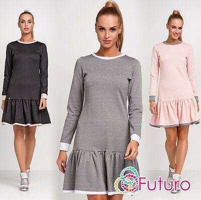Tiered Fass (Womens Cocktail Tiered Dress With Frill Crew Neck Long Sleeve Sizes 8 - 12 FA456)