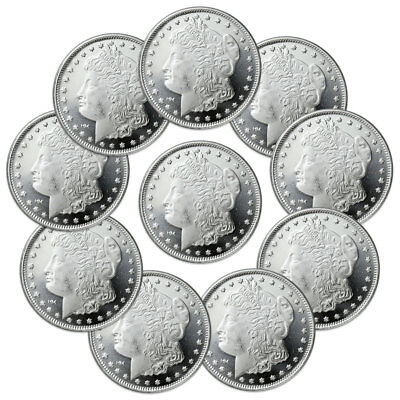 Lot of 10 Morgan Design 1 Oz .999 Fine Silver Rounds SKU31048