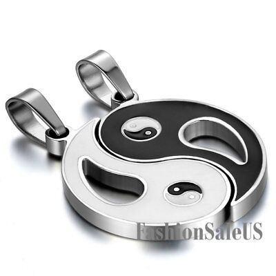 Stainless Steel Tai Chi Yin Yang Lucky Couples Pendant Necklaces Valentine Gift