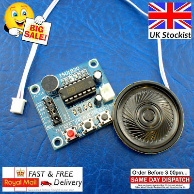Isd1820 Sound Voice Recording Playback Module Arduino Pi 0.5w Loudspeaker Uk