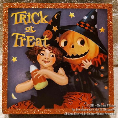 NEW HALLOWEEN WALL HANGING VINTAGE 50's GRAPHICS WITCH JACK O LANTERN SCARECROW