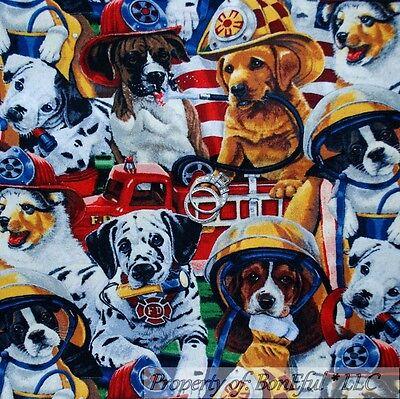 BonEful FABRIC FQ Cotton Quilt Fire Truck Rescue Ladder 911 HERO Baby Puppy Dog