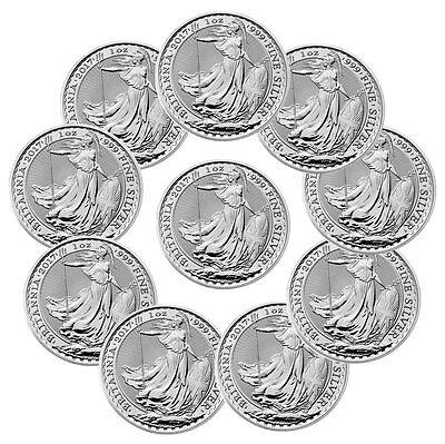 2017 Great Britain 2 Pound 1 Oz  Silver Britannia Lot Of 10 Sku43884