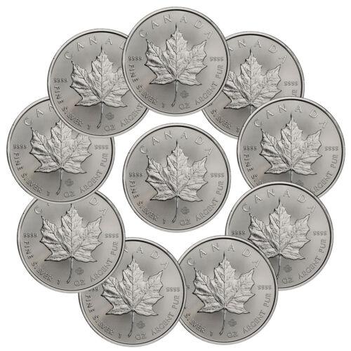 Lot of 10 - 2019 Canada 1 oz. Silver Maple Leaf $5 Coins SKU55537