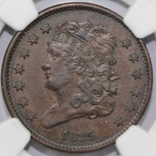 1835 1/2c Classic Head Half Cent Heavily Clashed Dies NGC AU 55