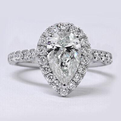 1.70 Ct Halo Pear Brilliant Cut Diamond Engagement Ring H, VS1 GIA Center 14K WG