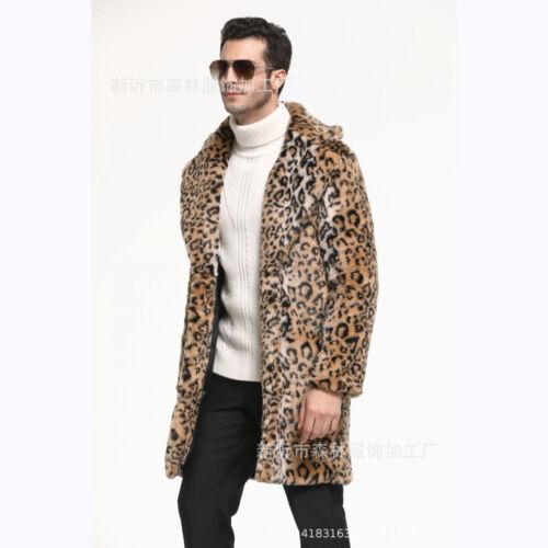 Mens leopard print parka faux fur lapel jacket warm long coat overcoat trench