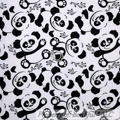 BonEful Fabric FQ Cotton Quilt VTG B&W Panda Bear Baby China Calico Bamboo Leaf - Panda Paws Costume
