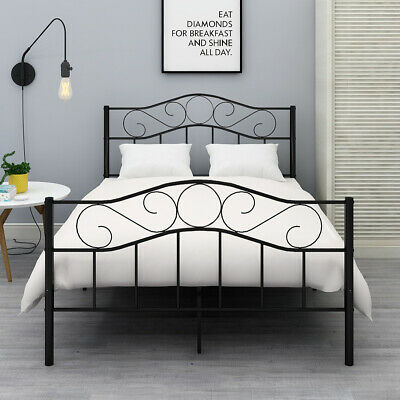 Queen Full Twin Size Bed Metal Bed Frame Platform Headboard Black/White Black Twin Platform