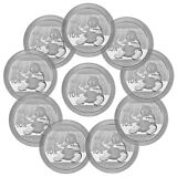 2017 China 10 Yuan 30g Silver Panda - Lot of 10 Coins In Mint Cap SKU43869