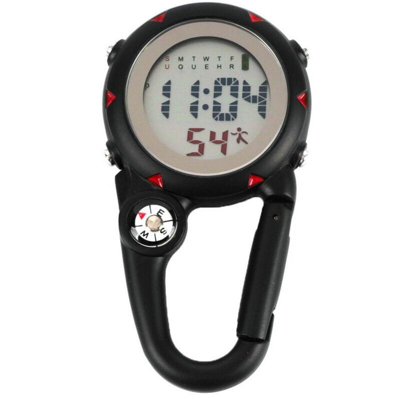 Luminous Clip On Black Carabiner Watch Quartz Watch Compass For Outdoor Climbing