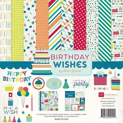 12 x 12 Echo Park Birthday party wishes boy baby Scrapbook Lot Paper -