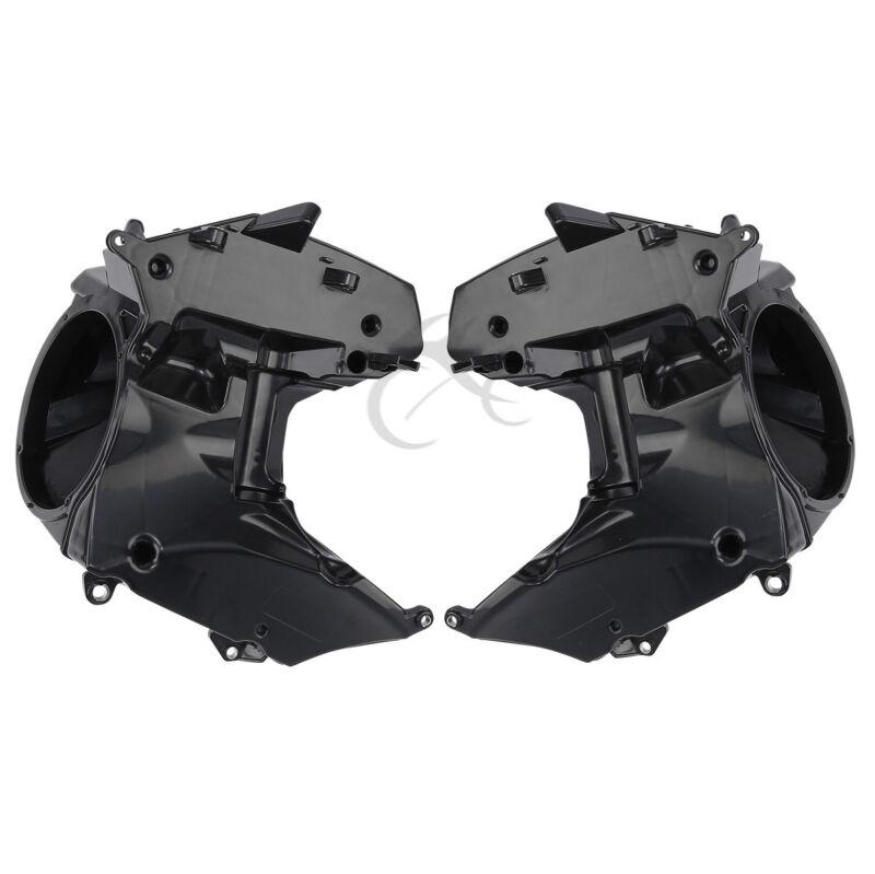 ABS BLK Headlamp Headlight Eyebrow Eyelid Trim For Harley Road Glide FLTRX FLTRU