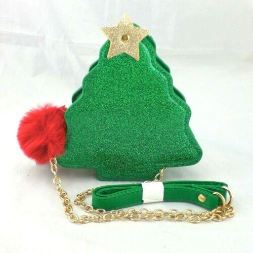 Olivia Miller Girl Green Glitter Christmas Tree CrossBody Purse Bag NEW Red Pom