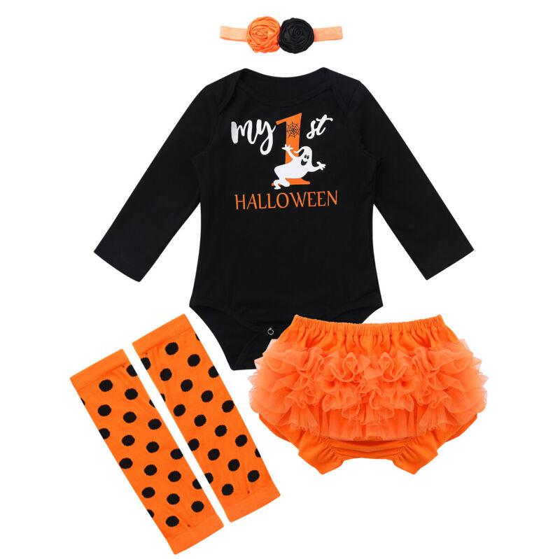 Photo Prop Halloween Fall Tutu Bloomers Baby Girl Headband  Leggings Warmer Orange Black Leg Warmers Ruffle Diaper Cover